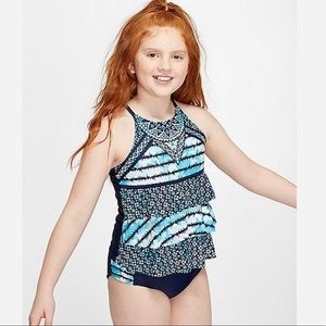 NWT JUSTICE tie dye medallion tiered tankini
